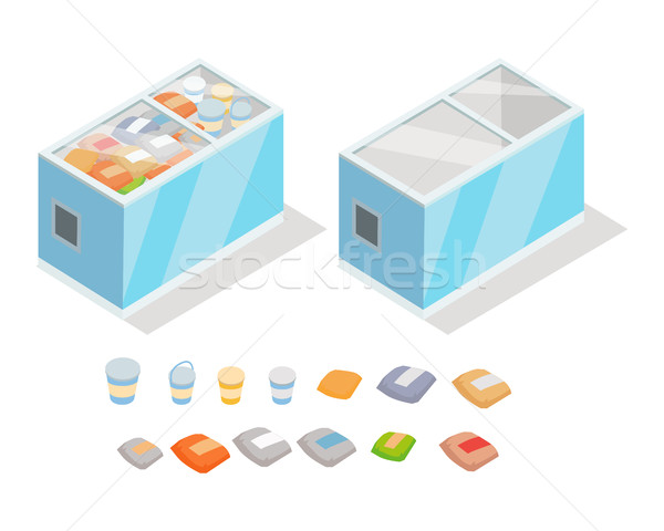 Frozen Products in Store Fridge Isometric Vector Stock photo © robuart