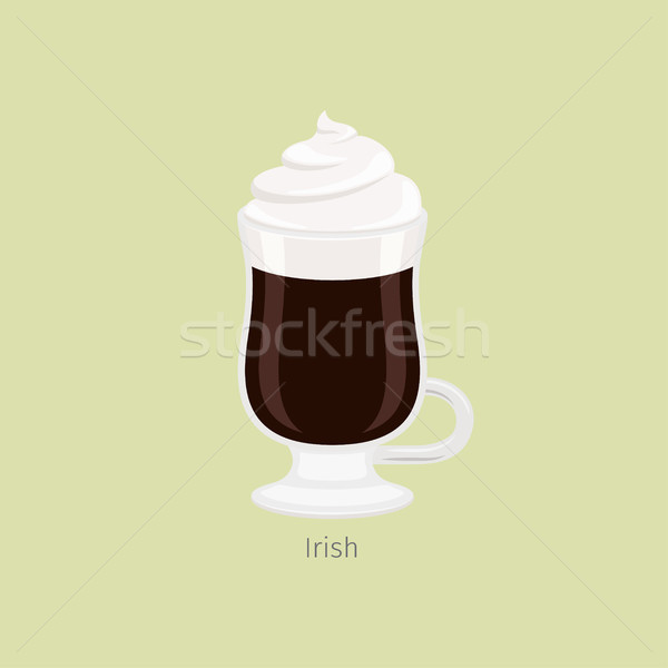 Glass Mug with Irish Coffee Flat Vector Stock photo © robuart