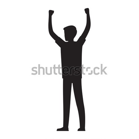 Man Raises His Hands Up Silhouette Illustration Stock photo © robuart