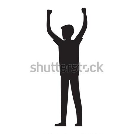 Férfi kezek magasban sziluett illusztráció előadás tiltakozás Stock fotó © robuart