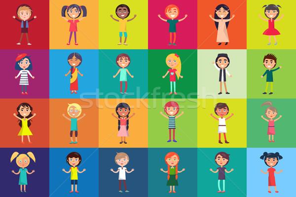 Multinacionális gyerekek izolált színes hátterek gyerekek Stock fotó © robuart