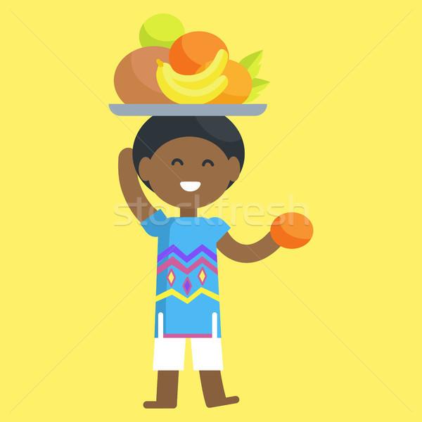 Foto stock: Africano · menino · fruto · conjunto · cabeça · mão