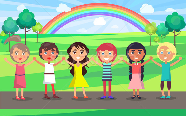 Crianças as mãos levantadas celebrar parque internacional crianças Foto stock © robuart