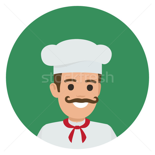Moustached Smiling Chief-Cooker in Green Circle Stock photo © robuart