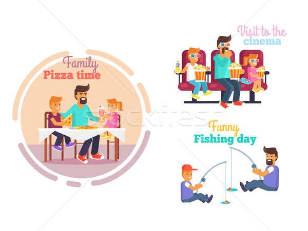 Fathers Day Poster with Dad and Children Vector Stock photo © robuart