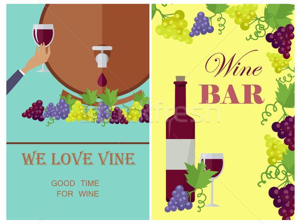 Amor vinho modelo cartaz necessário vetor Foto stock © robuart