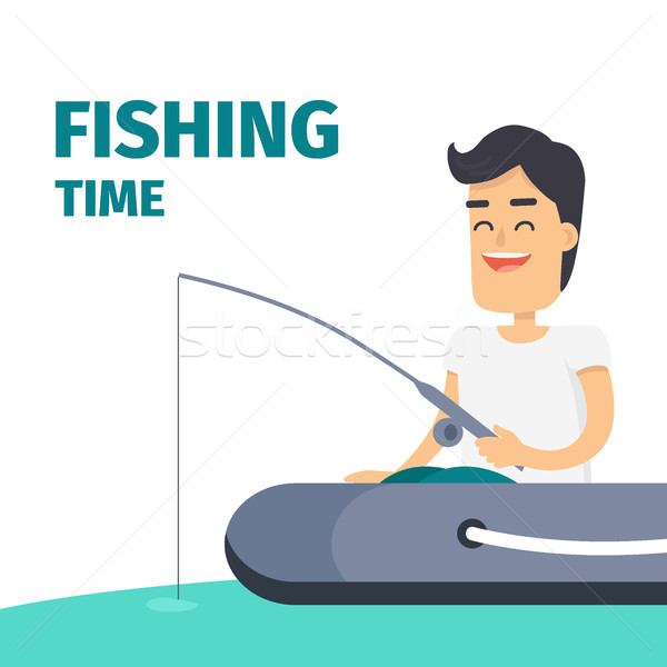 Fishing Time Vector Concept with Fisherman on Boat Stock photo © robuart
