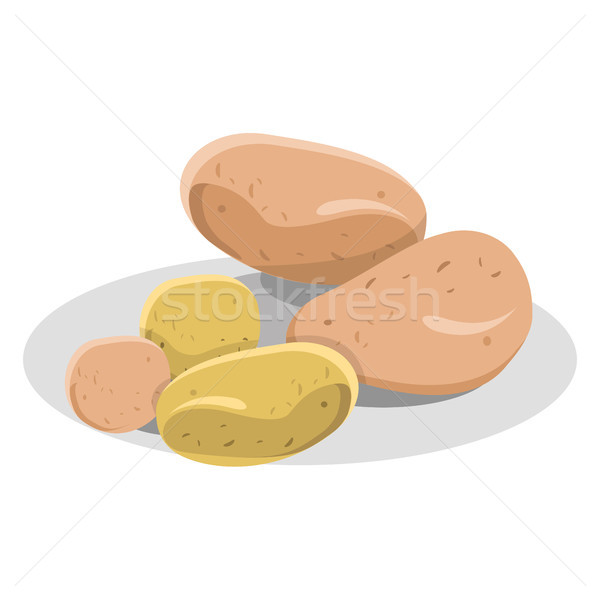 New and Pink Potatoes on White Plate Illustration Stock photo © robuart