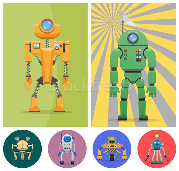 Metaal ongebruikelijk robots ingesteld speciaal Stockfoto © robuart