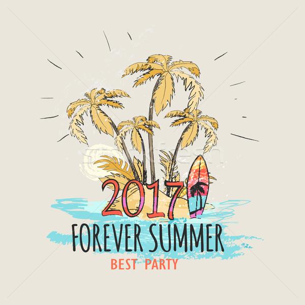 Sonsuza dek yaz avuç içi plaj grafik poster Stok fotoğraf © robuart