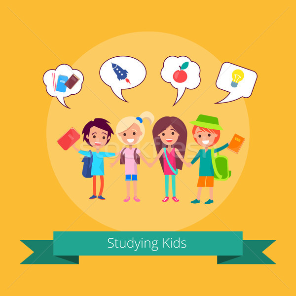 Studying Kids with Small Icons Illustration Stock photo © robuart