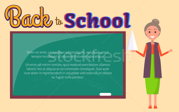 Back to School Poster Geometry Lesson with Teacher Stock photo © robuart
