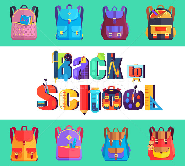 Back to School Poster with Rucksacks and Bags Stock photo © robuart