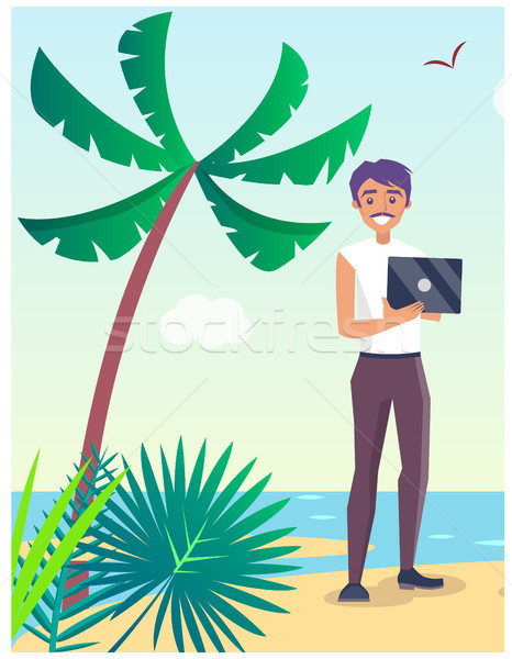Business Travel Poster with Freelancer on Beach Stock photo © robuart
