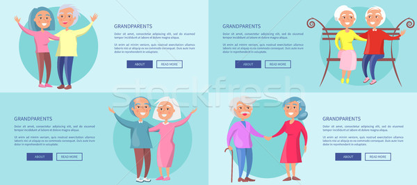 Grandparents Posters with Mature Couples Together Stock photo © robuart