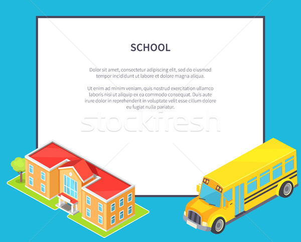 School Orange Two-Storey School and Yellow Bus Stock photo © robuart
