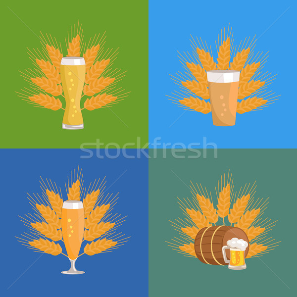 Beer Glasses with Wheat Vector Illustration Stock photo © robuart