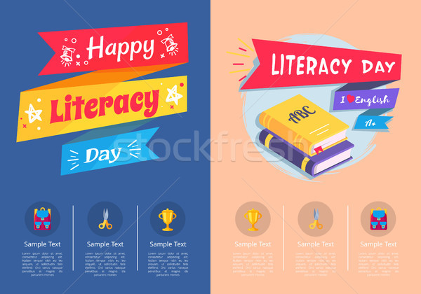 Happy Literacy Day Collection of Colorful Posters Stock photo © robuart