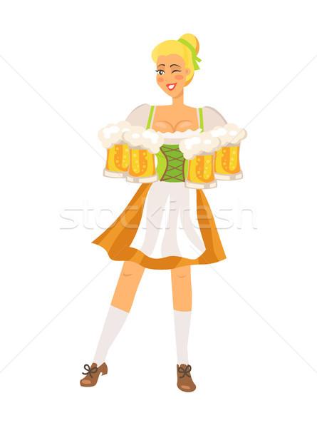 Pincérnő fehér mosolyog visel hagyományos jelmez Stock fotó © robuart