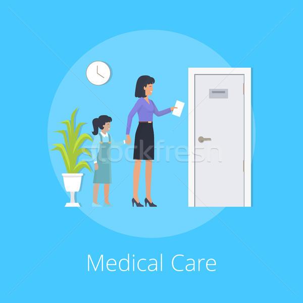 медицинская помощь красочный плакат матери дочь рецепт Сток-фото © robuart