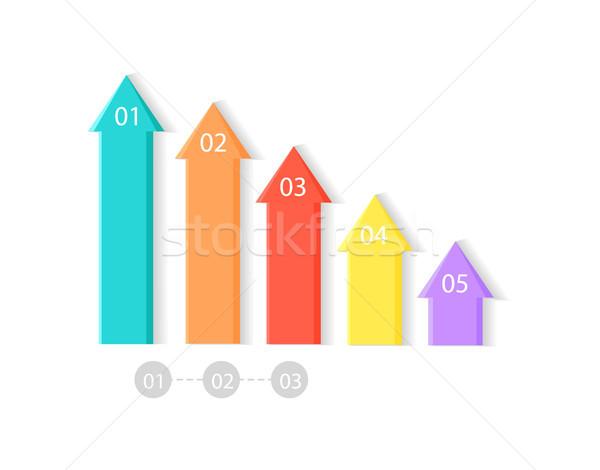 Five Colorful Upward Arrows Vector Illustration Stock photo © robuart