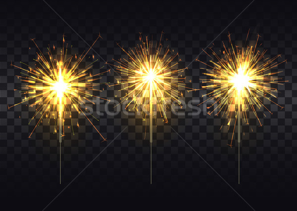 Golden Sparklers on Metal Stick Realistic Set Stock photo © robuart