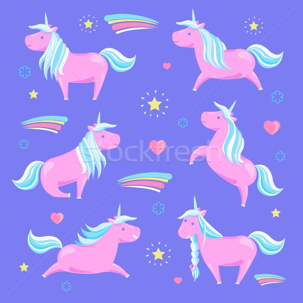 Сток-фото: розовый · радуга · звезды · сердцах · улыбаясь