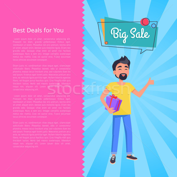 Best Deals for You Big Sale Poster. Man Holds Box Stock photo © robuart