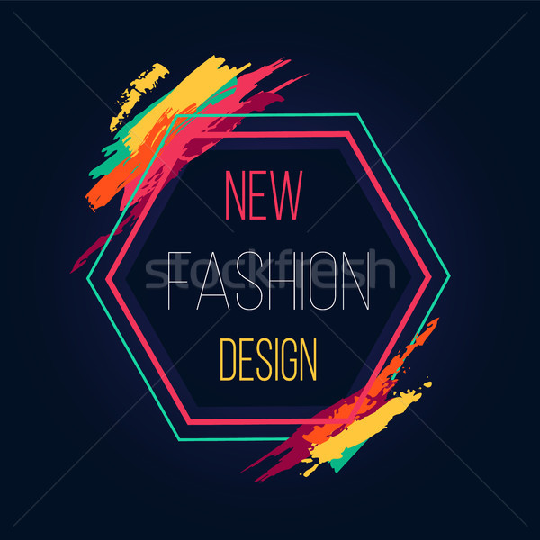 New Fashion Design Hexagon Frame Bright Border Stock photo © robuart