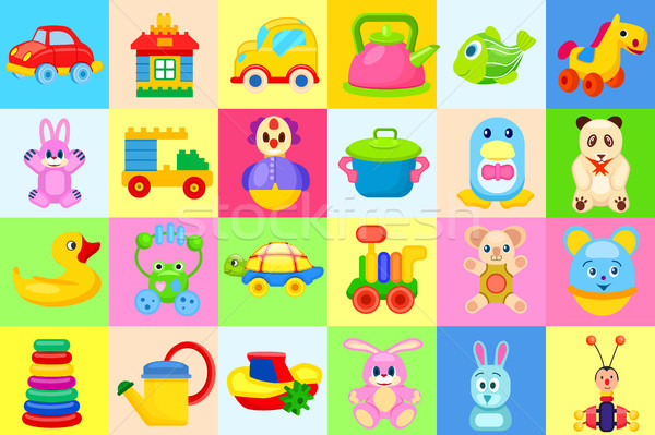 Childrens Toys Big Colorful Illustrations Set Stock photo © robuart