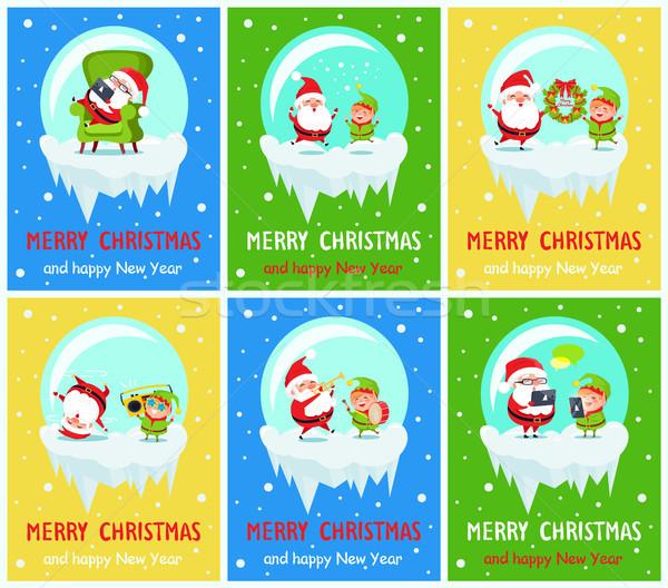 Merry Christmas Happy New Year Santa Elf Banners Stock photo © robuart