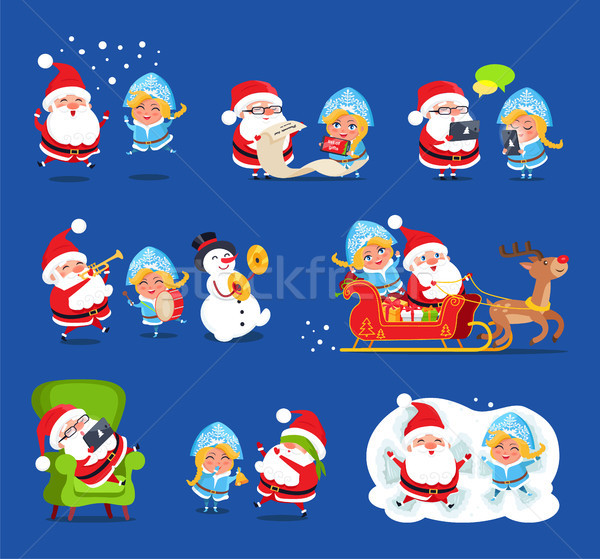 Claus and Snow Maiden Set Vector Illustration Stock photo © robuart