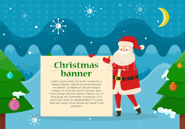 Christmas Banner in Santas Hand in Forest at Night Stock photo © robuart