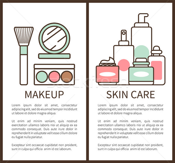 Stock photo: Makeup and Skin Care Posters Vector Illustration