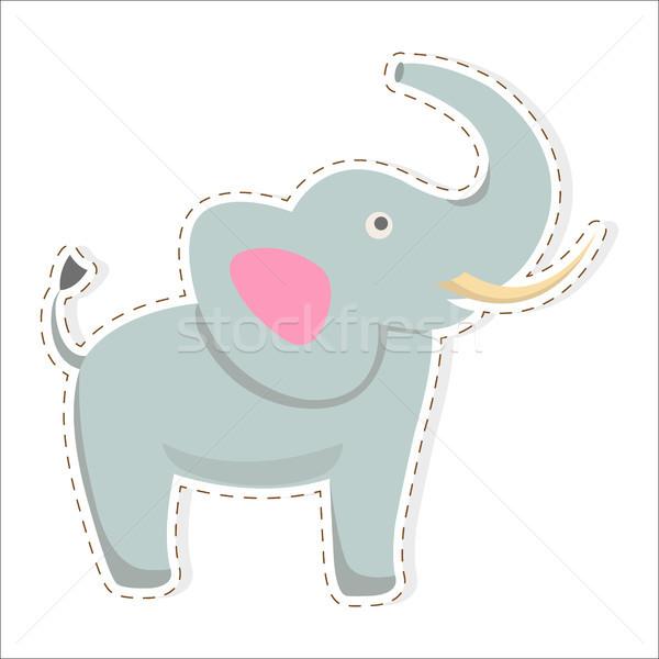 Cute Elephant Cartoon Flat Vector Sticker or Icon Stock photo © robuart