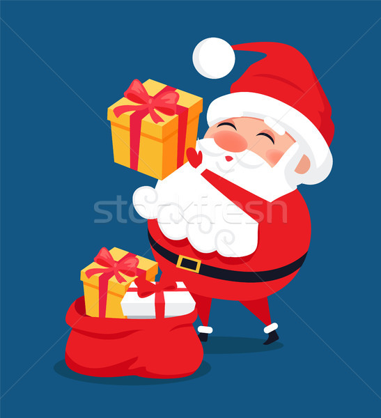Merry Santa Claus Put Presents into Red Bag Vector Stock photo © robuart