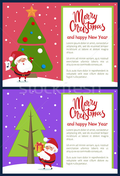 Merry Christmas Happy New Year Poster Santa Tree Stock photo © robuart