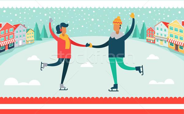 Man and Woman Ice-skating Vector Illustration Stock photo © robuart