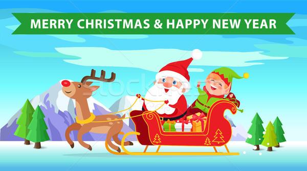 Allegro Natale renne buon anno completo presenta Foto d'archivio © robuart