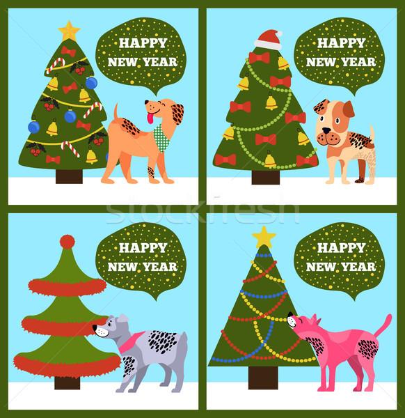 с Новым годом Баннеры пунктирный щенков дерево набор Сток-фото © robuart