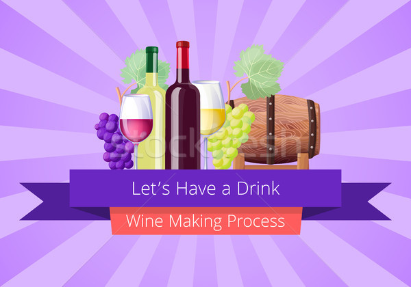 Lets Have a Drink Poster, Vector Illustration Stock photo © robuart