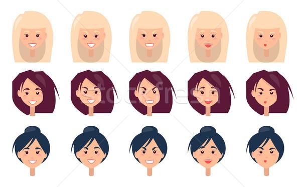 Stock fotó: Három · nők · portrék · különböző · érzelmek · arcok