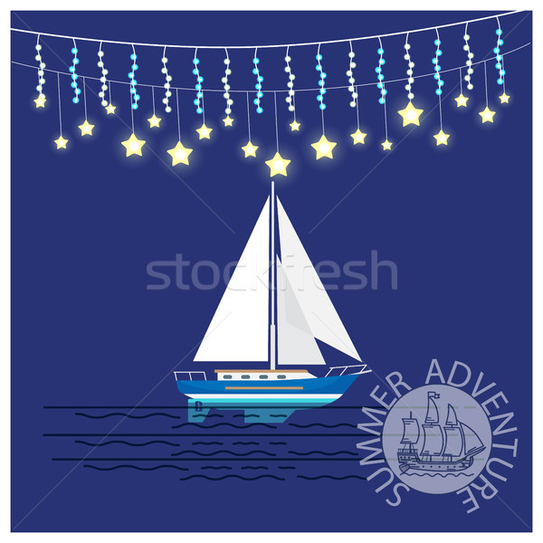 Summer Adventures Travelling Yacht with Garlands Stock photo © robuart