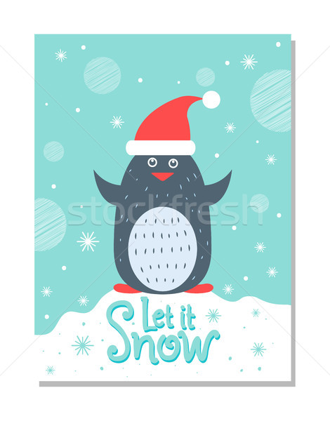 Let it Snow Greeting Christmas Card with Penguin Stock photo © robuart