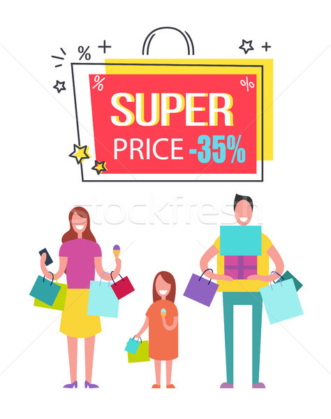 Super Price with 35 Off Banner with Happy Family Stock photo © robuart