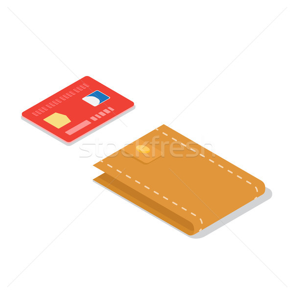 Credit Card and Leather Wallet Isometric Vector Stock photo © robuart