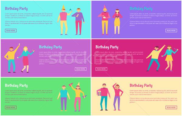 Festa de aniversário banners conjunto botão ler Foto stock © robuart