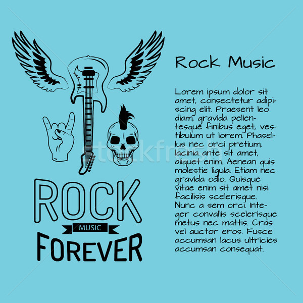 Rock Music Forever Poster with Guitar Stock photo © robuart