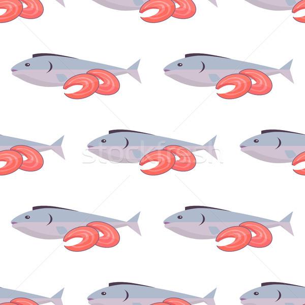 Stok fotoğraf: Balık · beyaz · sonsuz · doku · deniz
