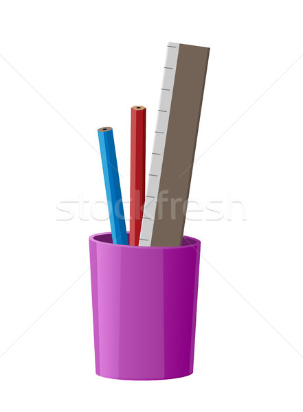 Stationary Cup with Red Pen, Blue Pencil and Ruler Stock photo © robuart